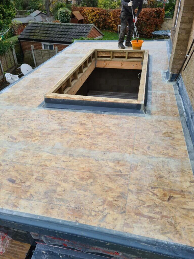 Flat roofing in Leeds project underway