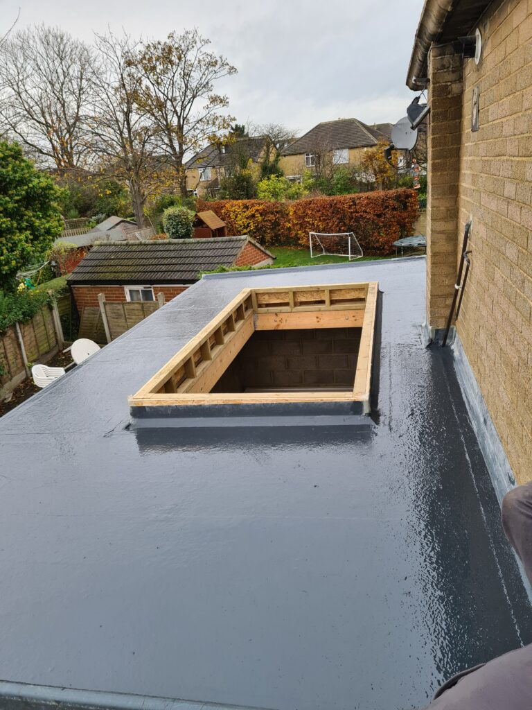 work in progress for a flat roof repair in Leeds