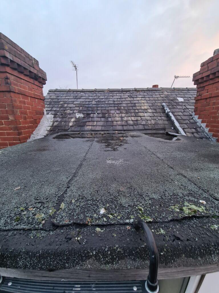 Damaged fibreglass roof in Leeds