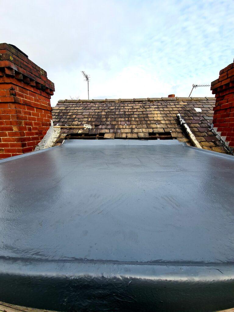 Completed fibreglass roof in Leeds