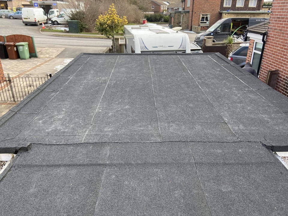 A finished felt roof in Leeds