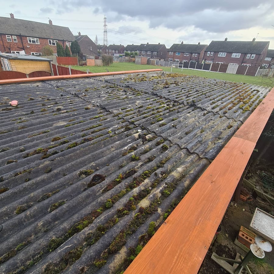 Garage flat roof in Leeds having work done to it